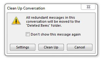 ALT + DEL combination on a message in Outlook 2013