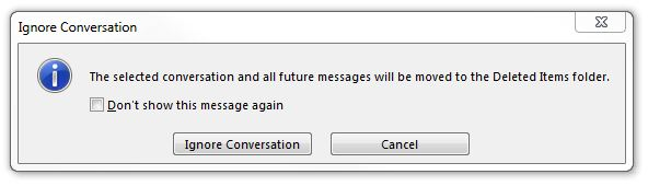 CTRL + DEL combination on a message in Outlook
