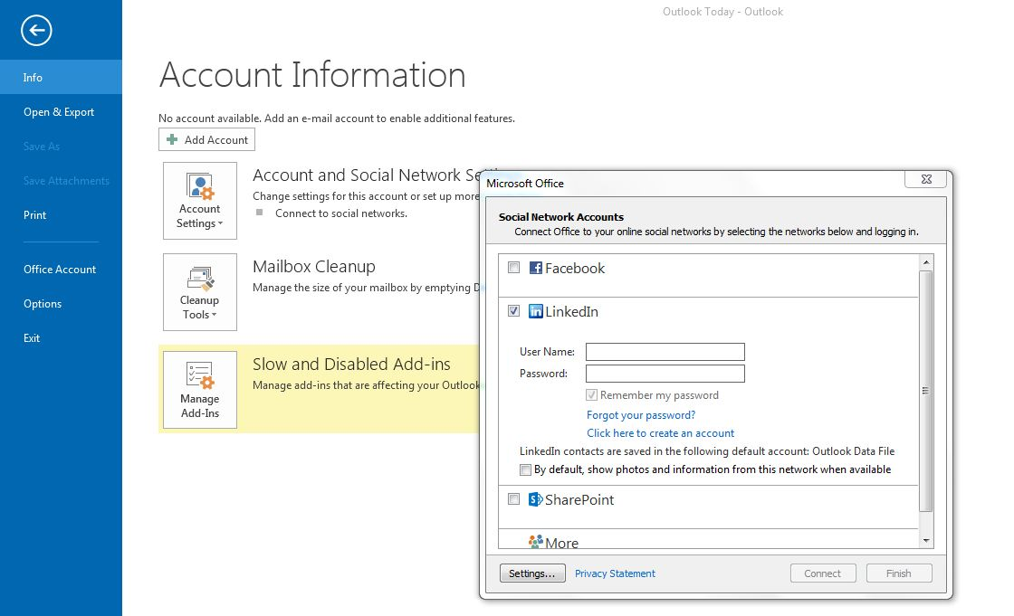 Outlook 2013 LinkedIn Social Connector Settings