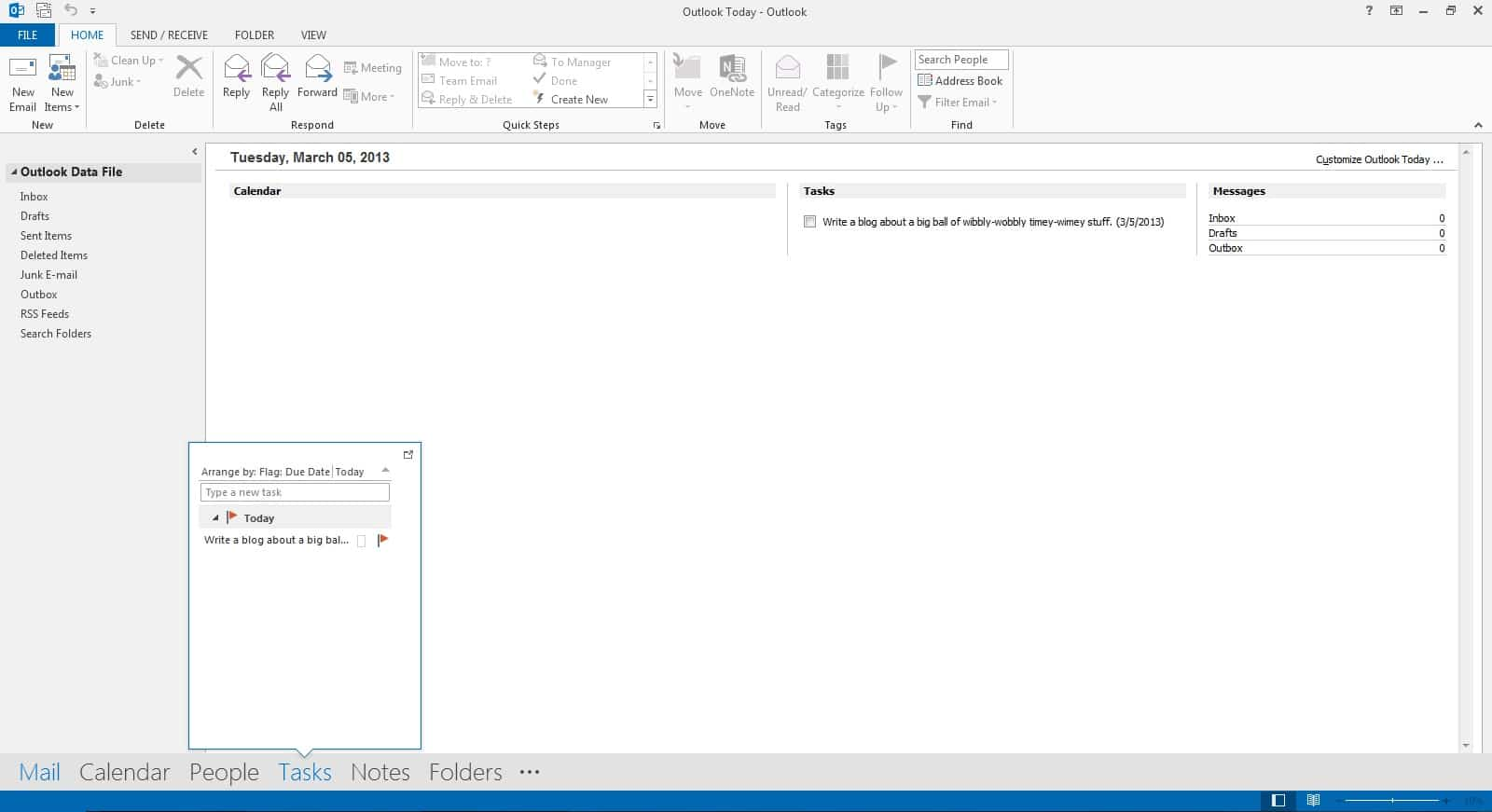 Outlook 2013 Navigation Bar