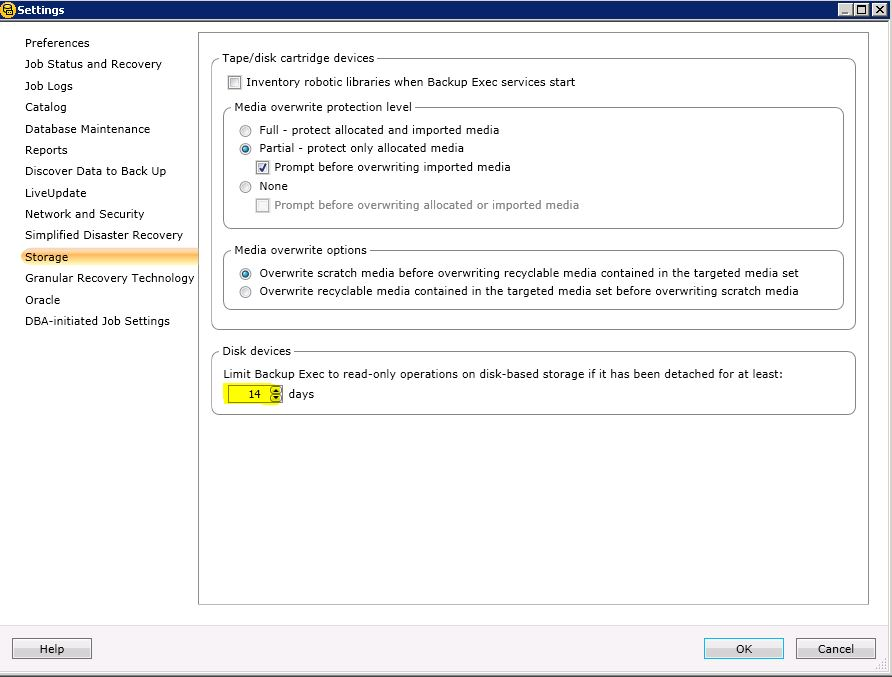 Backup Exec 2012 Disks Go Into Read Only Mode