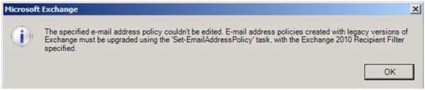 Exchange 2010 Upgrade Recipient Update Policy from 2003 Error.