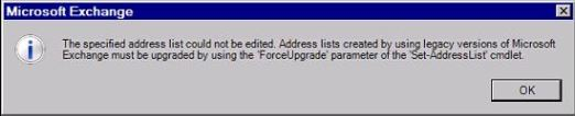 Exchange 2010 Upgrade Address Lists from 2003 Error.