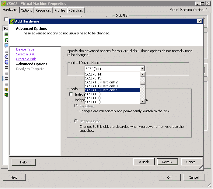 Assigning a SCSI ID in VMware ESXi
