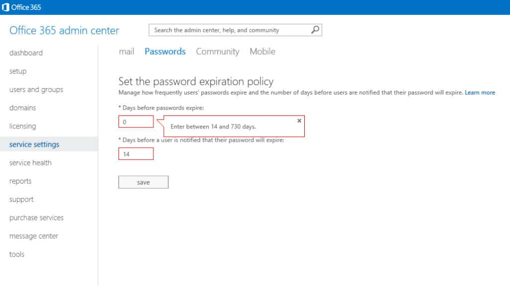 Office365 Admin Center Password Expiration