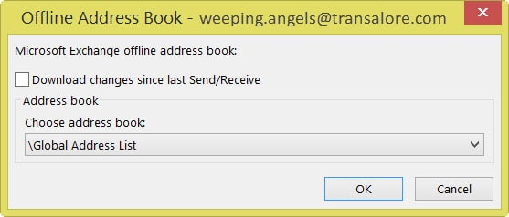 Outlook Address Book The Operation Failed