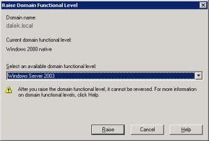 Raise Domain Level Server 2003