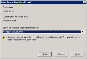 Raise Forest Level Server 2003
