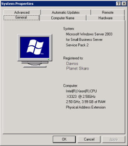 Small Business Server 2003 System Properties