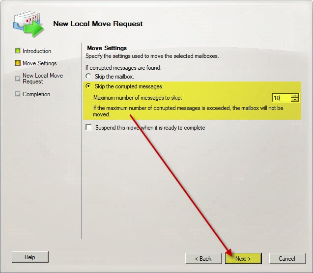 Exchange 2010 Local Move Request Skip Corrupted Messages