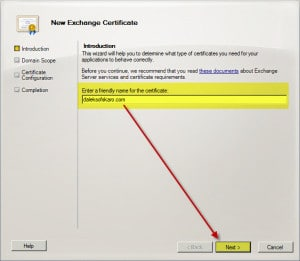Exchange 2010 New Certificate Request