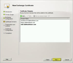 Exchange 2010 New Certificate Request E