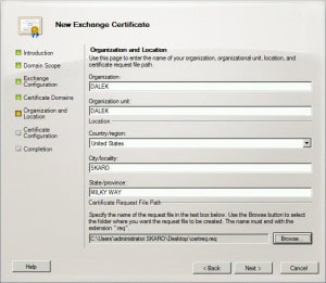 Exchange 2010 New Certificate Request F