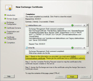 Exchange 2010 New Certificate Request H