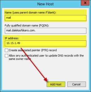 Server 2012 Split Brain DNS New A Record
