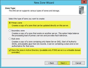 Server 2012 Split Brain DNS New Zone Primary Zone