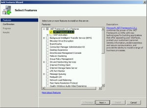 Server Manager Add Features .NET Framework 3.5.1