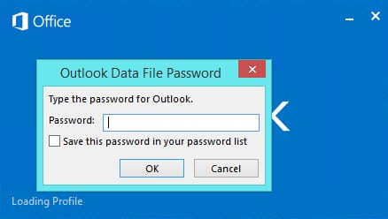 Outlook 2013 Password Prompt