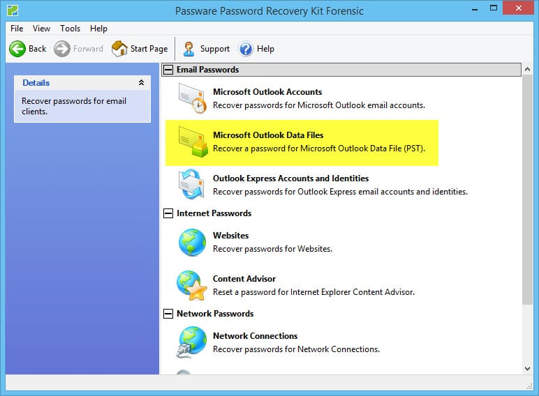 lost password for outlook email account