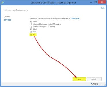 Exchange 2013 Certificate Assign Services