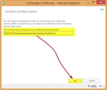 Exchange 2013 Complete Certificate Request B