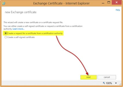 Exchange 2013 New Certificate Request 3rd party