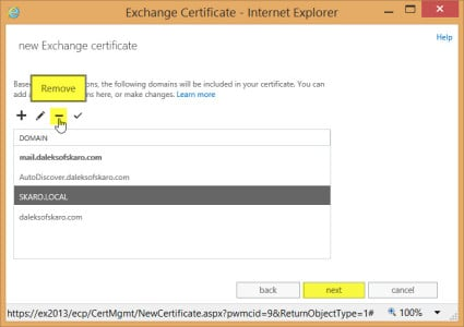 Exchange 2013 New Certificate Request Final Changes