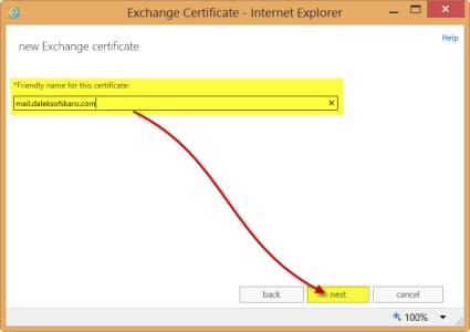 Exchange 2013 New Certificate Request Friendly Name