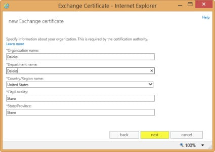 Exchange 2013 New Certificate Request Organization Information
