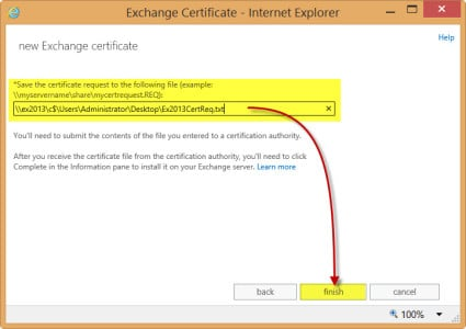Exchange 2013 New Certificate Request Save and Finish