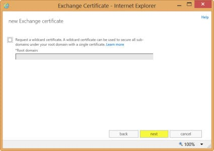 Exchange 2013 New Certificate Request Wildcard
