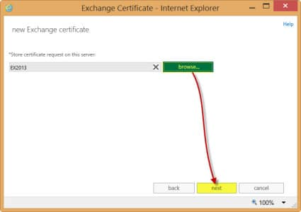 Exchange 2013 Store Certificate Request