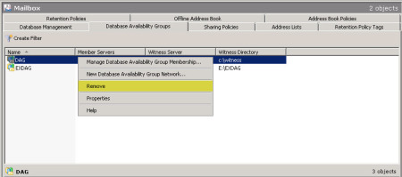 Decommission an Exchange 2010 Database Availability Group (DAG) H