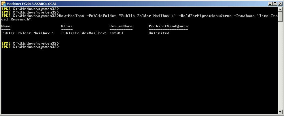 Migrate Public Folders from Exchange 2010 to 2013 New-Mailbox Public Folder