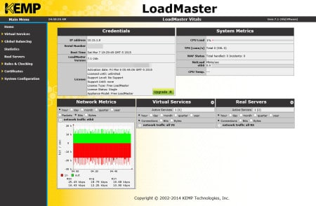 Free Kemp Layer-7 Virtual Load Balancer Home Screen
