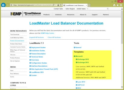 Kemp Load Balancer Download Templates