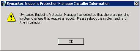 Symantec EndPoint Protection Pending System Changes Reboot