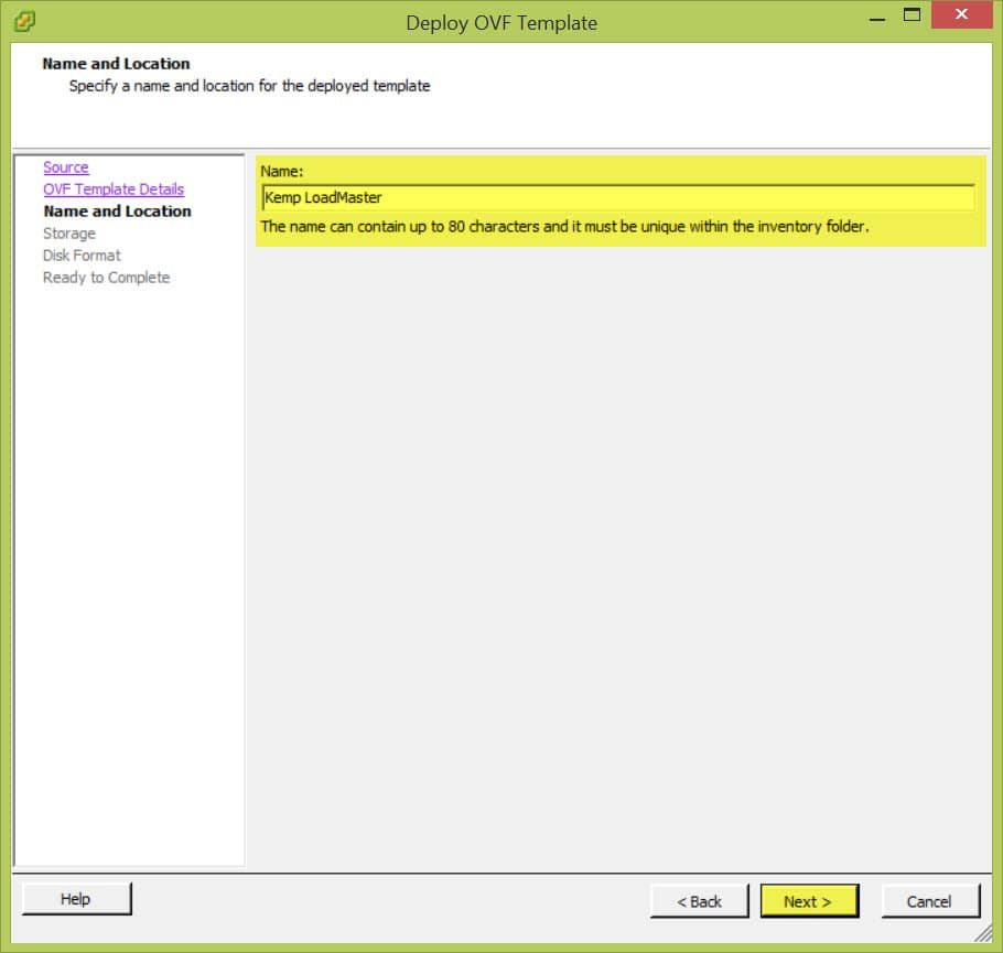 VSphere Client Deploy OVF Template B