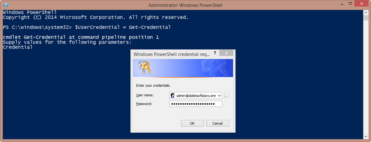Exchange Online PowerShell Credential Variable