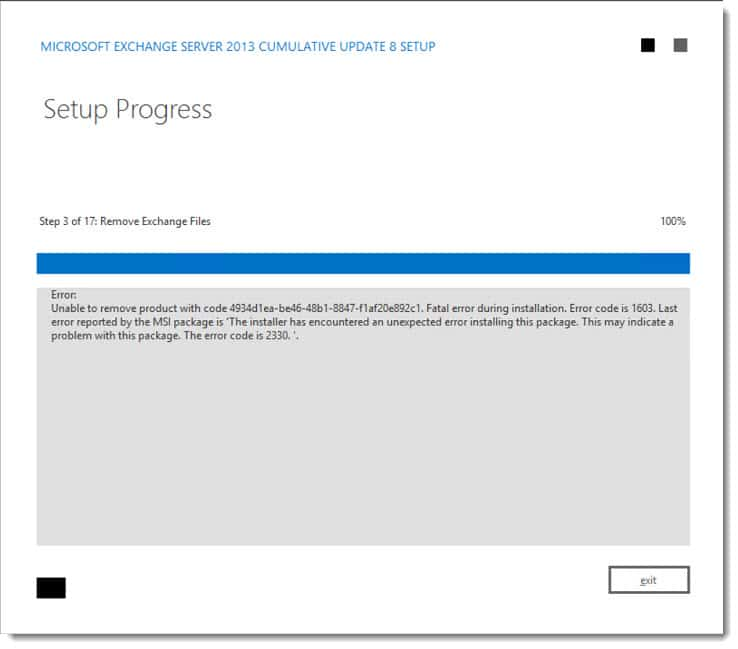 CU Fails: Unable to remove product. Error code is 2330
