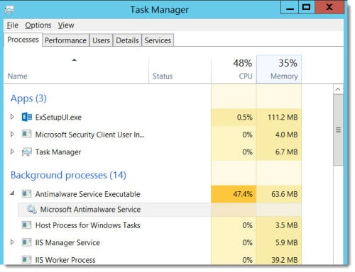 System Center Endpoint Protection High CPU