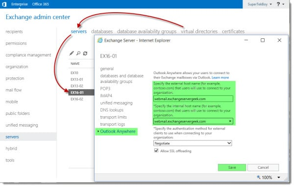 Configure URLs in Exchange 2016 G