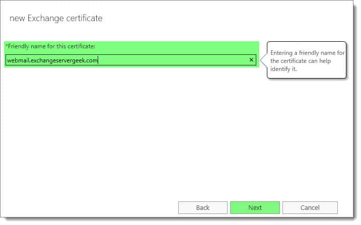 Generate a Certificate Request for Exchange 2016
