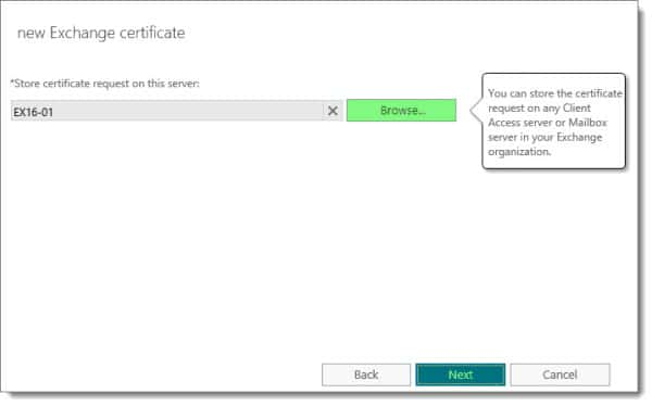 Generate a Certificate Request in Exchange 2016 E