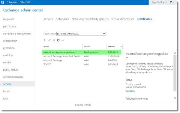 Generate a Certificate Request in Exchange 2016 K