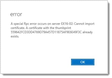 A certificate with the thumbprint already exists.