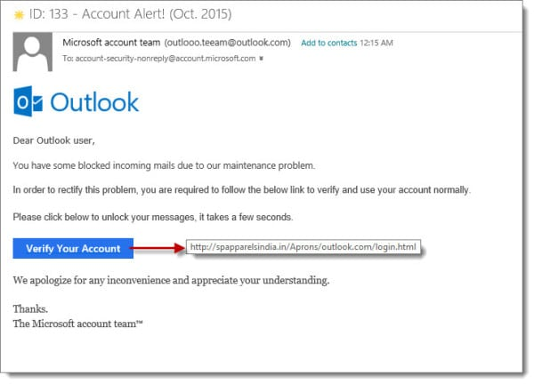 Outlook.com Microsoft Team Phishing Attack