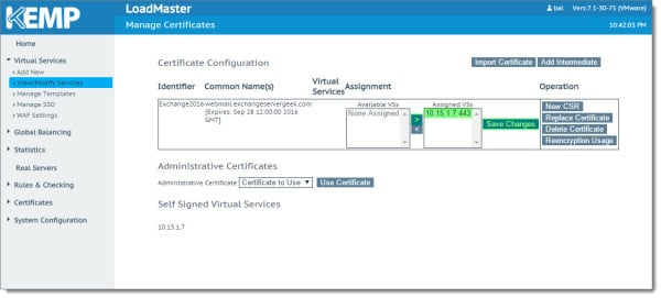 Kemp Load Balancer Import Exchange Certificate C
