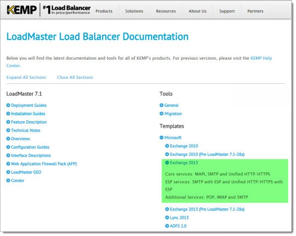 Kemp Load Balancer Template Download Page