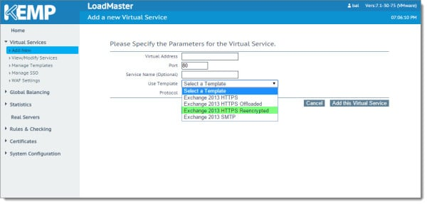 Kemp Virtual Load Balancer Add Virtual Service Using Template